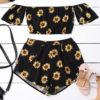 Women's Shoulder Sunflower Printed Beachwear